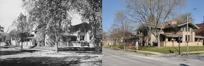 The Dana Thomas House at Fourth and  Lawrence as it looked in 1911 (left) and today. - COLOR PHOTO BY DOUG CARR