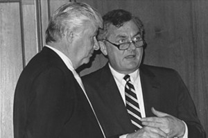 "A 1989 photo of Sen. Phil Rock, right, and Senate Minority Leader James ""Pate"" Philip.  The two discussed issues and votes nearly every day during Rock's 12-year tenure as Senate president. - PHOTO BY GINNY LEE"