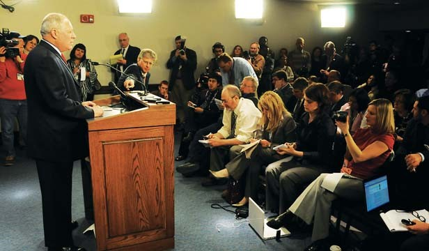 Statehouse reporters are joined by visiting news media from across the state in the state Capitol's Blue Room as Gov. Pat Quinn, just sworn in after Rod Blagojevich's impeachment, holds a news conference in January 2009. - PHOTO COURTESY THE GOVERNOR'S OFFICE.
