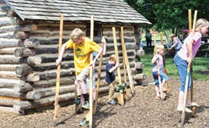 Walking on stilts is one of the fun family activities at Pioneer Pastimes in Nauvoo. - PHOTOS BY JOHN CAMPER