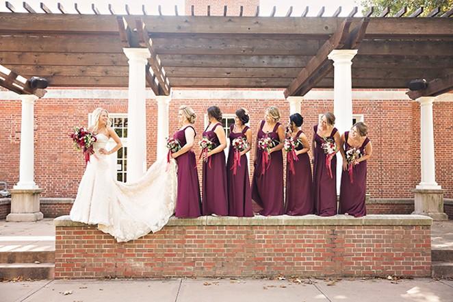 Danielle Heneisen and her bridal party - Rammelkamp Chapel in Jacksonville - PHOTO BY MATT DEBACKERE