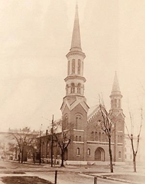 The current First Presbyterian Church building at Seventh and Capitol in Springfield was purchased from Third Presbyterian in 1872. The magnificent steeple towers were struck by lightning and demolished in the early 20th century.