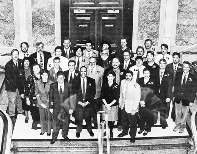 The Statehouse press corps in 2000 included 5) Bernie Schoenburg, State Journal-Register, 7) Doug Finke, Copley Illinois Newspapers, 13) John O'Connor, Associated Press, 15) Peggy Boyer Long, Illinois Issues, 18) Ray Long, Chicago Tribune and 22) B - PHOTO COURTESY STATE HOUSE PRESS ROOM