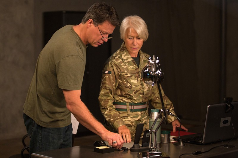 "Gavin Hood directs Helen Mirren in the set of ""Eye in the Sky."" - COURTESY BLEECKER STREET MEDIA"