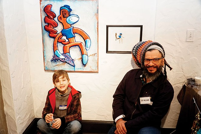 "Young artist Sawyer Lobmaster and Pharmacy member artist Jeff Williams with their renditions of ""Minecraft Husk."" - PHOTO BY LEE MILNER"
