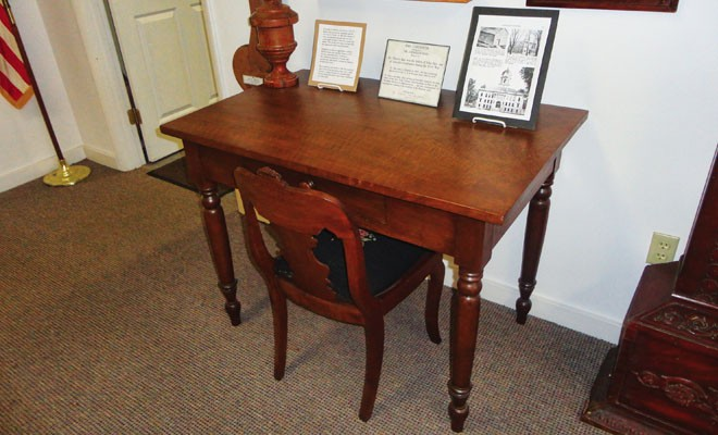 A desk that belonged to John Hay, who served as Lincoln's secretary.