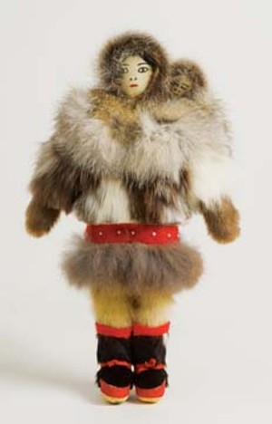 A Doll of a Inupiaq Inuit (Alaska) woman and child made by a woman named Kruggruk in 1981.