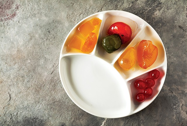 Mostarda. Northern Italian condiment made of candied fruit.