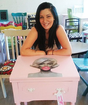 Marilyn Monroe side table designed by  Megan Shomidie, 30.