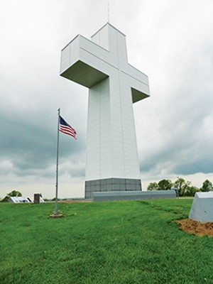 The Bald Knob cross stands 111 feet tall on one of the highest spots in southern Illinois near Alto Pass. Completed in 1963, the cross draws tourists from throughout the world.