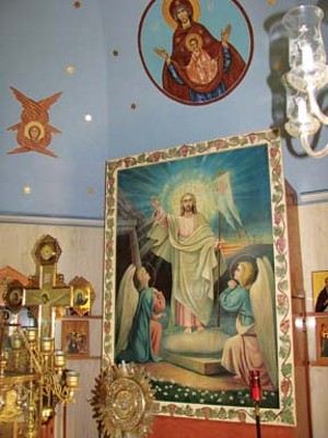 A resurrection icon behind the altar at Holy Dormition Church. - PHOTOS BY WILLIAM FURRY