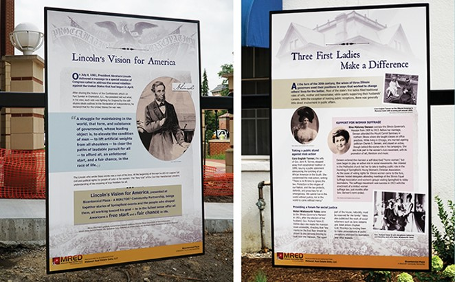 Historical interpretive panels celebrating the 16th president and past Illinois first ladies,  featured in Bicentennial Plaza. - PHOTO BY LEE MILNER