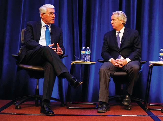 Former Gov. Jim Edgar (left) and Christopher Kennedy (right), son of Robert F. Kennedy, discuss the 2016 elections and the state of American politics. - PHOTO BY LEE MILNER
