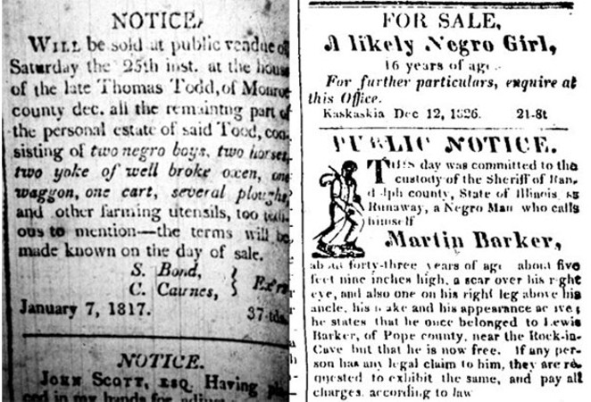 A notice in the Jan. 22, 1817, Western Intelligencer of Kaskaskia. Right, A notice in the Dec. 12, 1826, The Illinois Reporter. - COURTESY THE ABRAHAM LINCOLN PRESIDENTIAL LIBRARY AND MUSEUM