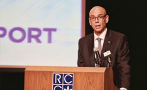 """Juan Luciano, CEO and president of ADM, said at the Sept. 25 """"market launch"""" of the Midwest Inland Port that the investment in transportation could be a """"game changer"""" for central Illinois. - PHOTO BY PATRICK YEAGLE"""