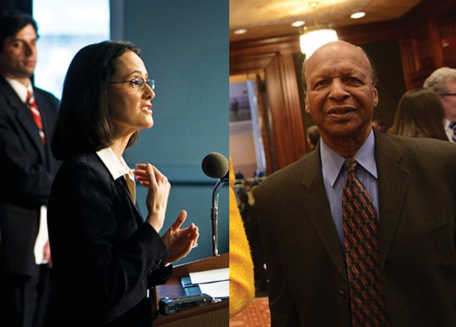 Seven months after Secretary of State Jesse White, right, refused to release the personnel file of an employee who embezzled six figures from Southern Illinois University, Attorney General Lisa Madigan, left, still hasn't done anything about it.