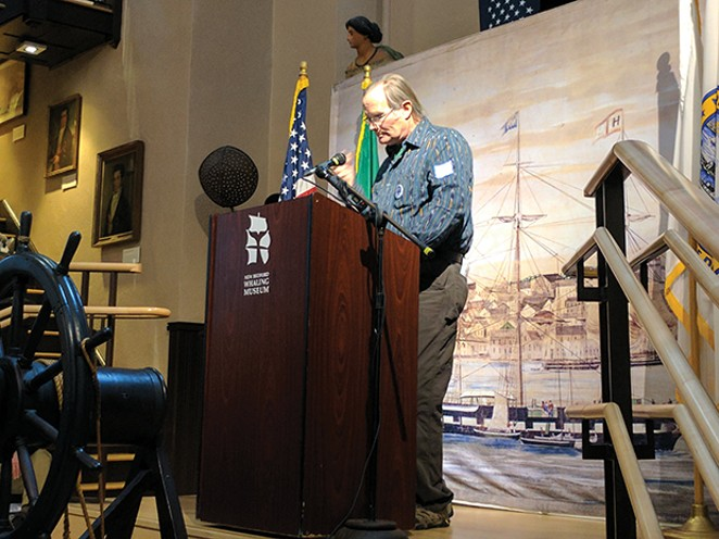 """In January 2017 Herman Melville's great-great-grandson, Peter Gansevoort Whittemore, read the classic opening excerpt beginning with the famous line, """"Call me Ishmael."""". - PHOTO COURTESY NEW BEDFORD WHALING MUSEUM"""