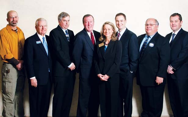 The candidates in Springfield's mayoral primary are (left to right) John G. Thomas, Mike Houston, Frank Kunz, Mike Farmer, Sheila Stocks-Smith, William McCarty, Mario Ingoglia and Mike Coffey. - PHOTO BY TERRY FARMER PHOTOGRAPHY