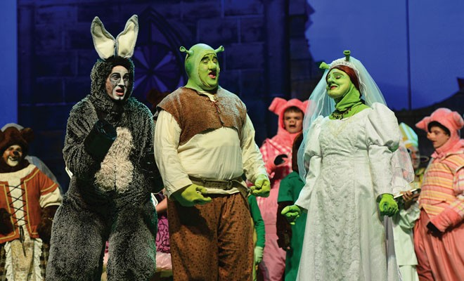 Donkey (Andrew Wheaton), Shrek (Brad Barding) and Fiona (Hannah Siehr). - PHOTO BY DONNA LOUNSBERRY