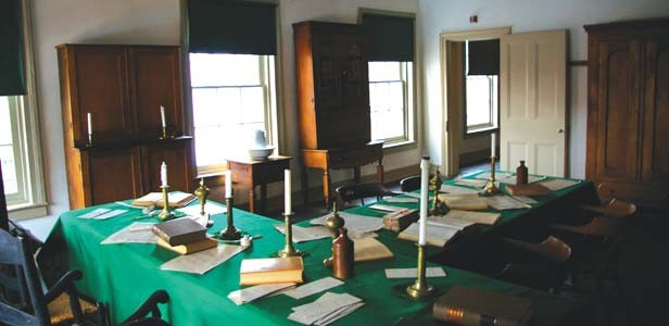 The recreated Lincoln-Herndon law offices are notable for the plainness and disorder remembered by Lincoln associates. - PHOTO BY R.L. NAVE