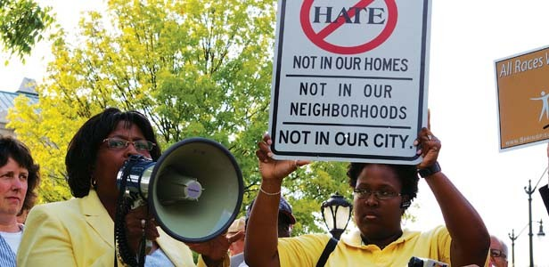 Ward 2 Ald. Gail Simpson speaks at a rally to end hate in Springfield on Aug. 5. - PHOTO BY R.L. NAVE
