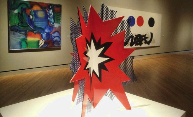 """Roy Lichtenstein's """"Standing Explosion (Red),"""" 1966, is part of the permanent collection."""