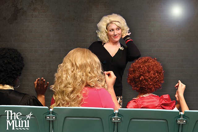 Courtney Wick as Audrey, in blonde wig, faces the music in the form of girl group-Greek chorus with Crystal, Chiffon and Ronette in the Muni's Little Shop of Horrors. - PHOTO COURTESY OF SPRINGFIELD MUNI OPERA
