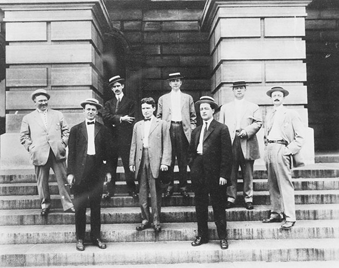 The 1907 Statehouse press corps represented numerous Chicago newspapers, with the exception of Leigh Call, fourth from right, who reported for the Associated Press and Springfield's Illinois State Journal. Second from right is Charles N. Wheeler of - PHOTO COURTESY STATE HOUSE PRESS ROOM