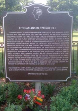 "The ""Lithuanians in Springfield"" historical marker was unveiled on May 19 in Enos Park. - PHOTO BY WILLIAM FURRY"