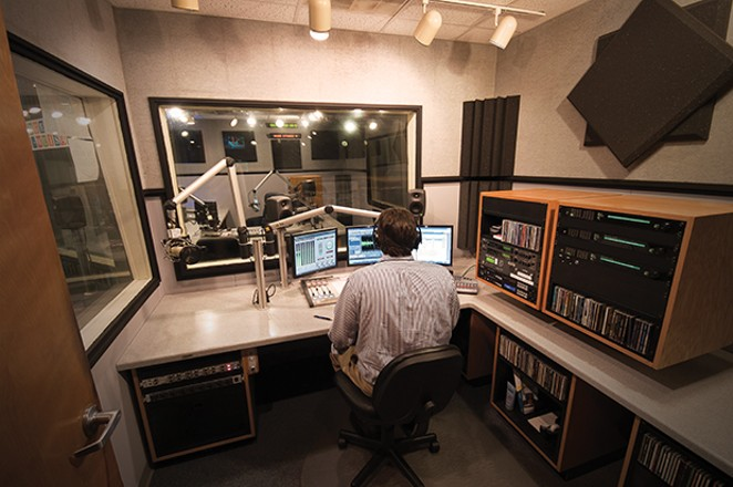 NPR Illinois managing editor Sean Crawford inside Studio D. A new transmitter for the station will be installed soon in Mechanicsburg. - PHOTO BY MATT PENNING