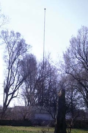 Elmer Kneale's flagpole still stands in back of his former home on Rutledge Street in Springfield.