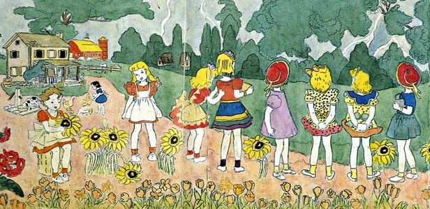 """Detail of an untitled Darger painting of the """"Vivian Girls,"""" who inhabited the artist's fantasy world. - PHOTO BY KIYOKO LERNER"""