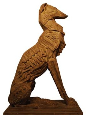 """The Richard W. Bock Sculpture Museum and Almira College House featue many sculptures, including """"Geometric Dogâ€Â."""