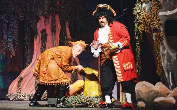 Hook and Smee (Steve Williams and Jim Dahlquist) hatch a plan to catch Peter Pan. - PHOTO BY DONNA LOUNSBERRY