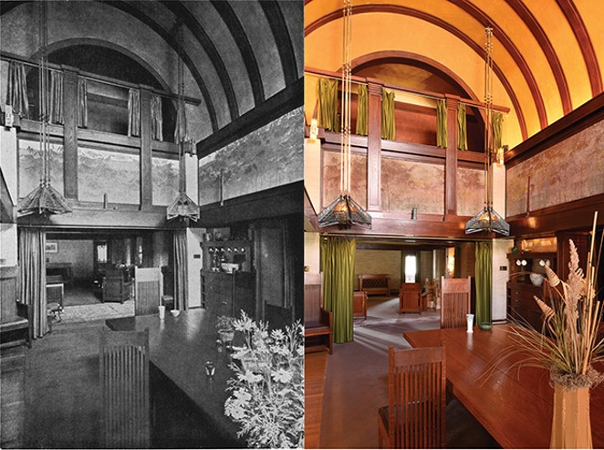 A view of the dining room with the table fully extended and showing the barrel vaulted ceiling and the gallery where musicians often played during Susan Lawrence Dana's many parties.  Left: The same view in 1911. - COLOR PHOTO BY DOUG CARR