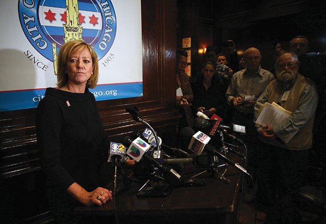 Ives talks to the media Feb. 5 after giving a speech at the City Club in Chicago, following the release of a video campaign ad that many called racist and homophobic. Ives did not back down. - PHOTO BY TERRENCE ANTONIO JAMES/CHICAGO TRIBUNE/TNS