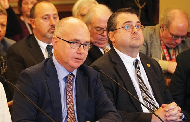 ALPLM director Alan Lowe, left, testifies Tuesday alongside state historian Sam Wheeler. - PHOTO BY LEE MILNER