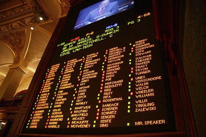 """The """"score board"""" in the House shows votes on SB10, the same-sex marriage bill that passed the House today. - PATRICK YEAGLE"""