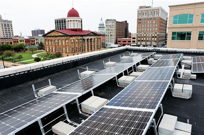 Practicing what they preach: Rooftop of WindSolarUSA at 104 N. Sixth St. - PHOTO COURTESY OF WINDSOLARUSA