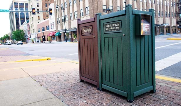 Downtown's recycling collection containers are made from 100 percent  post-consumer recycled plastic. - PHOTO BY DAVID HINE