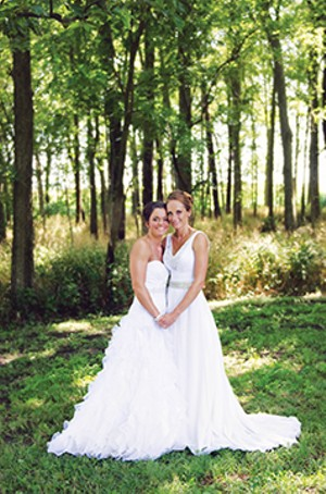 Caitlin and Grazia McCarthy, married July 22, 2017, at Caitlin's mother's house in San Jose, Illinois. - PHOTO BY AMBER MCCARTHY