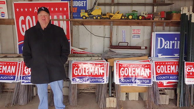 A year before running for Sangamon County auditor, Andy Goleman spent $10,000 on yard signs. No one ran against him. - PHOTO BY BRUCE RUSHTON