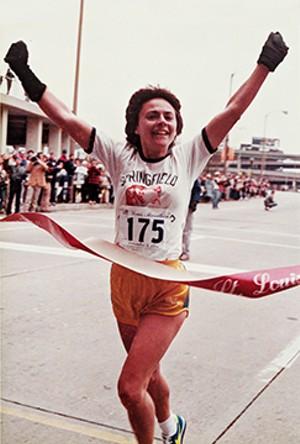 Becky Baum winning the  women's division of the St Louis  Marathon on Dec. 4, 1983