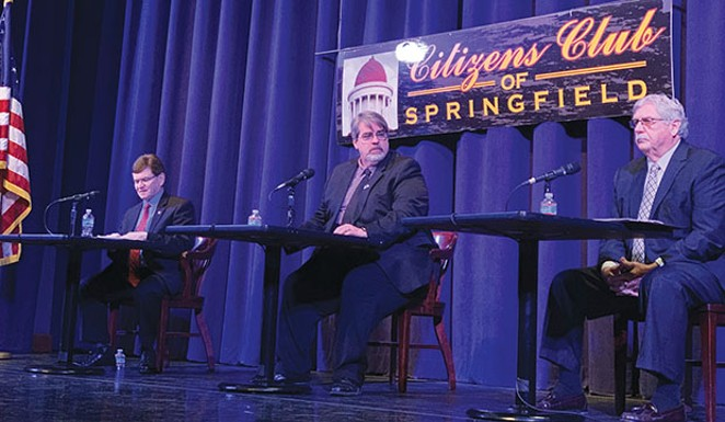 Jim Leach of WMAY moderates the discussion between mayoral candidates Jim Langfelder and Frank Edwards at the Feb. 22 forum.