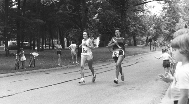 George Anne Daly (left) and  Carmen Chapman Pfeiffer (right) at the  first Women's Distance Festival on  July 26, 1980, in Washington Park. Carmen placed sixth and George Anne  placed seventh overall. - PHOTO COURTESY CARMEN CHAPMAN PFEIFFER