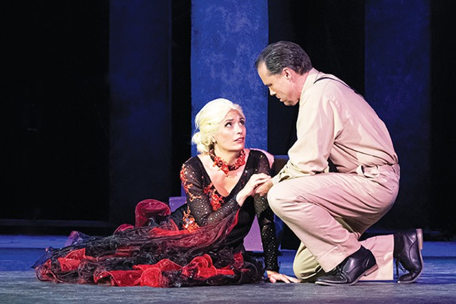 Mary Kate Smith (Eva Peron) and Greg Donathan (Juan Peron) played the title roles in The Muni's recent production of Evita.
