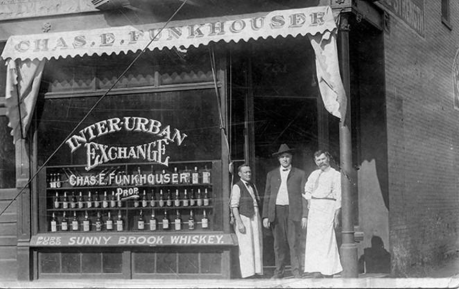 """Charles Funkhouser's saloon at 721 East Adams Street, which likely closed not long after Springfield went """"dry"""" in 1917. Between 1909-1917, at least two women sued Funkhouser on the grounds that he sold their husbands alcohol and made t - PHOTO COURTESY OF THE SANGAMON VALLEY COLLECTION OF THE LINCOLN LIBRARY."""