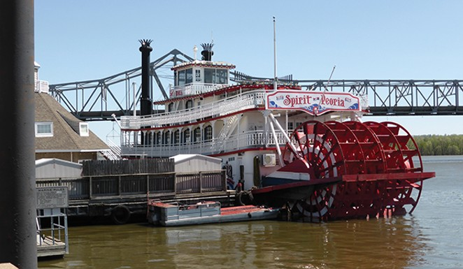 The Spirit of Peoria paddle-wheeler, docked at the Peoria waterfront, plies the Illinois and Mississippi rivers on sightseeing cruises from May to October. - MARY BOHLEN