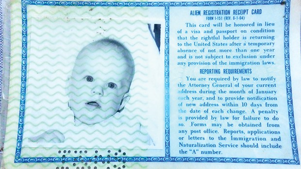 It didn't work in bars, but an ancient green card was just the ticket for securing jobs. - PHOTO COURTESY OF U.S. IMMIGRATION AND NATURALIZATION SERVICE