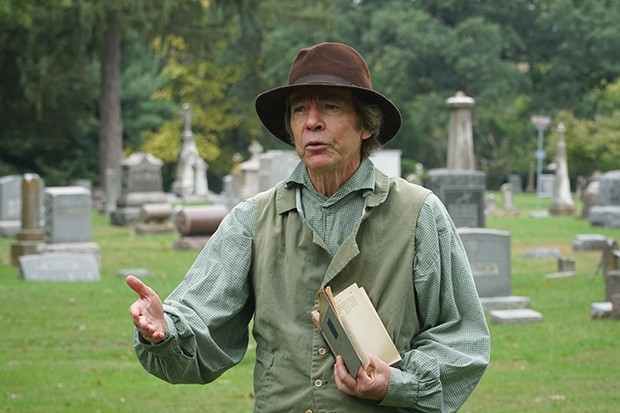 Pat Foster at an earlier cemetery walk. This year he portrays William Butler, for whom Butler School is named.